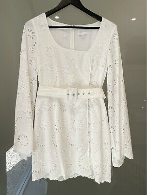 AU100 • Buy Alice McCall White Long Bell Sleeve Belted Dress Size 10