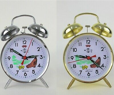 AU18.99 • Buy Twin Bell Analogue Bedside Alarm Clock Vintage Chicken Pecking Pattern Wind Up