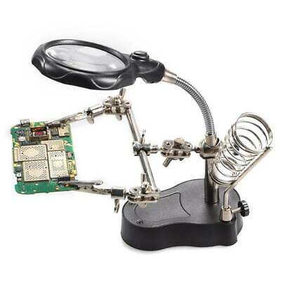 £6.99 • Buy Uk Led Soldering Iron Stand Helping Hands Magnifying Glass Magnifier
