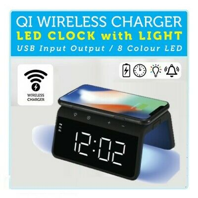AU45.99 • Buy 1PC LED Clock With Light And Wireless QI Charger 8 Colour Night Light Twin Alarm