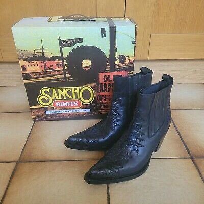 £75 • Buy Black Leather Ankle Boots Sancho Cowboy Western Goodyear Welted Size 41 UK 8