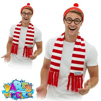 £13.99 • Buy Adults Where's Wally Wenda Costume Kit Mens Ladies Fancy Dress Outfit Accessory