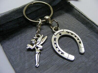 £3.95 • Buy Lucky Horseshoe & Fairy Tinkerbell Charm Keyring With Gift Bag (NC)