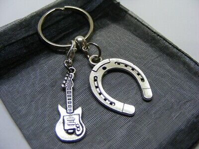 £3.95 • Buy Lucky Horseshoe & Electric Guitar Charm Keyring With Gift Bag (NC)