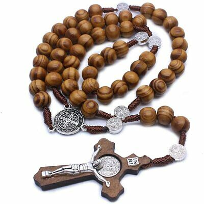 £4.95 • Buy Our Lady Crucifix Cross Catholic Wooden Prayer Bead Rosary Necklace