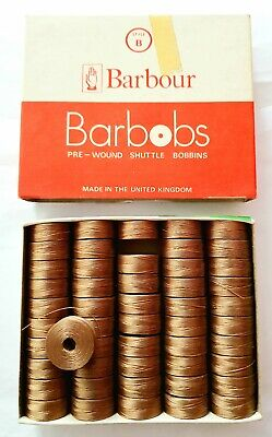 £18 • Buy Barbour Barbobs Pre-Wound Shuttle Bobbins Pack Of 50 BEIGE 2773 Style B 44 MTRS.