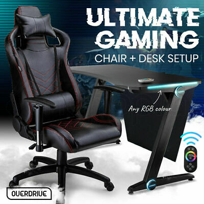 AU639 • Buy Gaming Chair Desk Racing Seat Setup Black Combo PC BLACK/RED OVERDRIVE