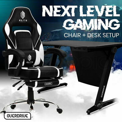 AU539 • Buy Gaming Chair Desk Racing Seat Setup PC Combo Office B/W OVERDRIVE