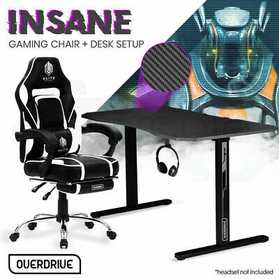 AU529 • Buy Gaming Chair Desk Racing Seat Setup PC Black Office B/W OVERDRIVE