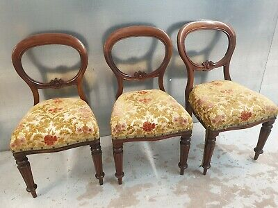 £60 • Buy Antique Vintage 3 Matching Balloon Back Upholstered Chairs *project Wobbly Backs