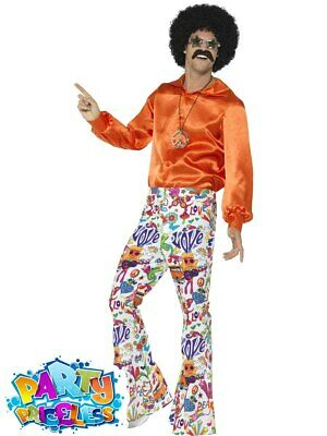 £11.49 • Buy Adult Mens 60s Groovy Flared Trousers Multicoloured Flares Hippie Fancy Dress