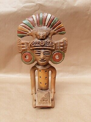 £24.99 • Buy Clay 6 Note Flute Mexican Deity Painted Terracotta Statue Whistle Mayan Aztec
