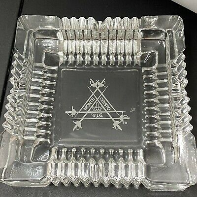 £14.62 • Buy Monte Cristo Ashtray Clear Glass Cigar Square 4 Rests 7  X 7  1.5  Tall