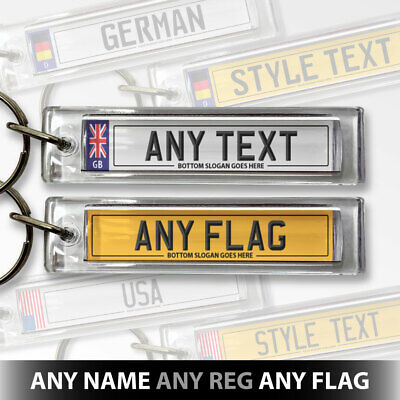 £3.99 • Buy Personalised Car Registration Number Plate Keyring Acrylic Keychain Any Flag