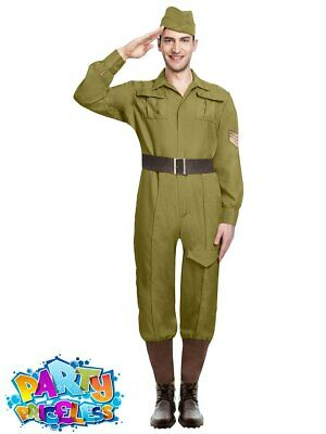 £19.99 • Buy Adult Mens World Wartime Soldier Costume Army WW1 Military Fancy Dress Outfit