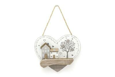 £2.99 • Buy Wooden Houses Heart Sign Wall Hanging Ornament