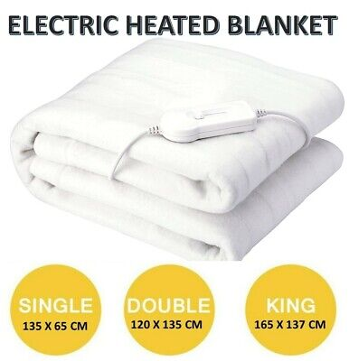 £15.95 • Buy Single Double King Electric Heated Under Blanket Washable 3 Heat Settings Rohs