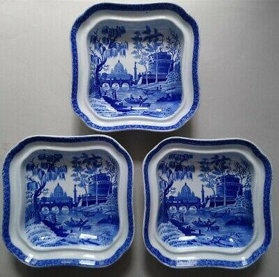 £60 • Buy THREE Antique Spode Tiber Rome Dishes C1820 Blue White Pearlware Transfer