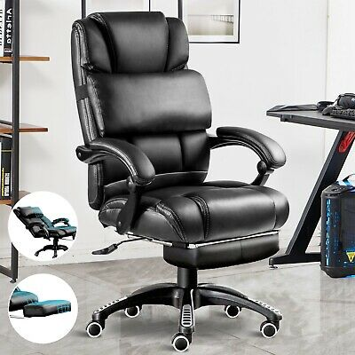 £78.99 • Buy Executive Office Chair Swivel Recliner Gaming Computer Desk Chair W/ Footrest UK