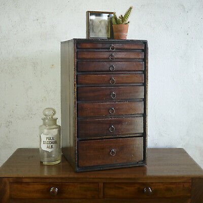£295 • Buy Antique Mahogany Specimen Cabinet Bank Of Drawers Collectors Chest Jewellery Box