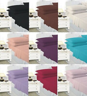 £4.99 • Buy New Extra Deep Elastic Fitted Bed Sheets For Mattress Single Double King Size