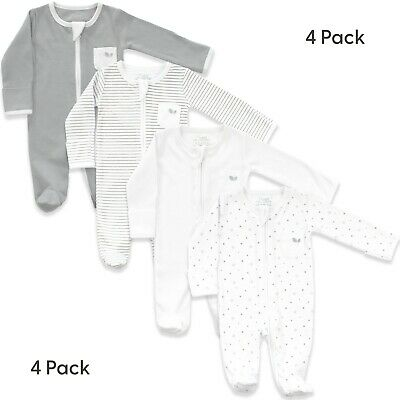 £12.99 • Buy Baby Sleepsuits For Boys And Girls - Pack Of 4 Unisex Pyjamas In White And Grey