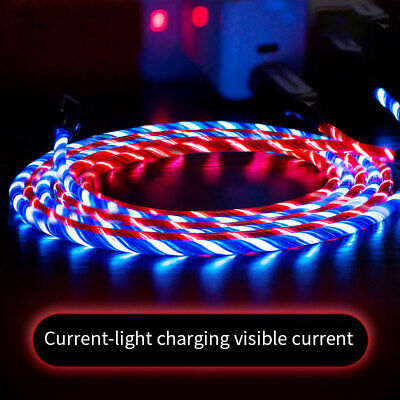 £3.88 • Buy LED Flowing Light Up Type C Micro USB Fast Charge Charger Cable For IPhone Lead
