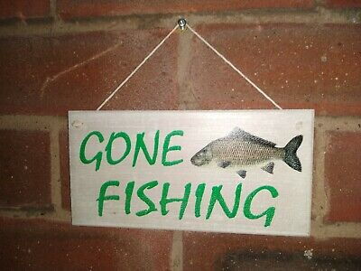 £4.75 • Buy Gone Fishing Carp Wooden Sign - Brand New Man Cave Sign