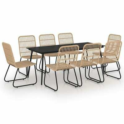 £1154.99 • Buy 9 Piece Outdoor Dining Set Poly Rattan Glass Garden Patio Furniture Table Chairs
