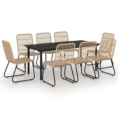 £1124.99 • Buy 9 Piece Outdoor Dining Set Poly Rattan Glass Garden Furniture Patio Table Chairs