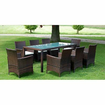 £742.99 • Buy 9 Piece Outdoor Dining Set Cushions Poly Rattan Brown Garden Patio Furniture