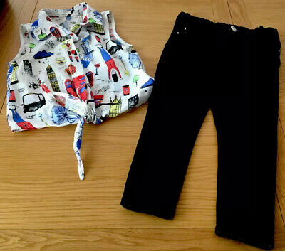 £9.99 • Buy Next London Theme Crop Tie Top And River Island Crop Jeans  Age 8 Years Vgc