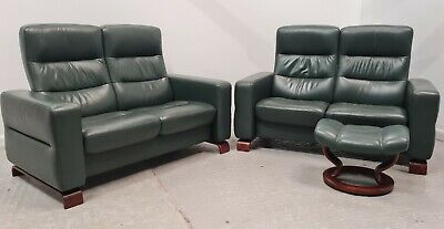 £1450 • Buy Ekornes Stressless Wave 2x2 Seater Recliner Leather Sofas & Stool Green 2708219