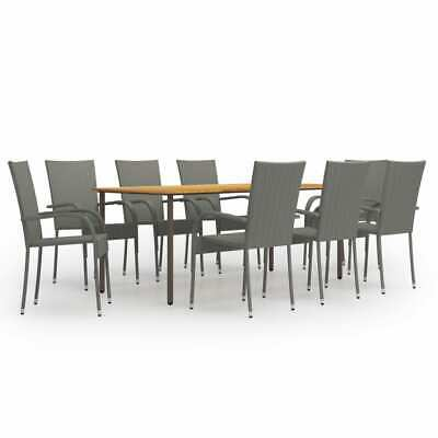 £551.99 • Buy 9 Piece Garden Dining Set Poly Rattan Grey Outdoor Furniture Table Chairs Patio