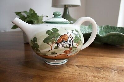 £10 • Buy Bovey Tracey- Hand Painted Cottage Scene Decorated Teapot Signed And Stamped