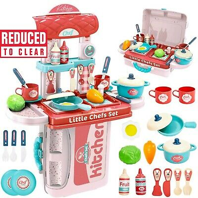 £7.99 • Buy KITCHEN PLAY SET 32Pcs Kids Girls Role Play Toy Pretend WITH CARRY CASE