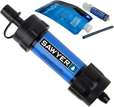 AU64.58 • Buy Sawyer MINI Water Filtration System With Filter Pouch Straw Travel Camping Hikes