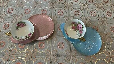 £21 • Buy Vintage Maling Lustre Ware Blue And Pink Saucers With Rose Tea Cups