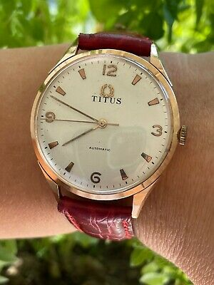 £650.48 • Buy TITUS WATCH AUTOMATIC SOLID GOLD 18K MENS 36mm SWISS MADE JUST SERVICED