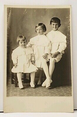 £6.56 • Buy RPPC Three Victorian Children Lovey Identical Outfits 1913 Photo Postcard H13