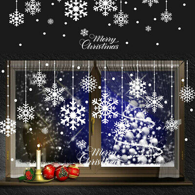 £3.15 • Buy Merry Christmas Window Stickers Decal Reusable Self Cling Snowflake Wall Decors