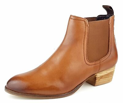 £29.99 • Buy Womens Block Heel Tan Leather Chelsea Ankle Boots Size 4 5 6 7 8