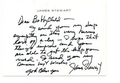 £69.95 • Buy James Jimmy Stewart Genuine Authentic Signature Signed Note Card