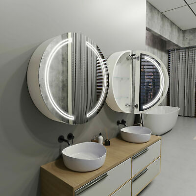 £585 • Buy Round LED Bathroom Cabinet With Mirrors FORTUNA   80cm