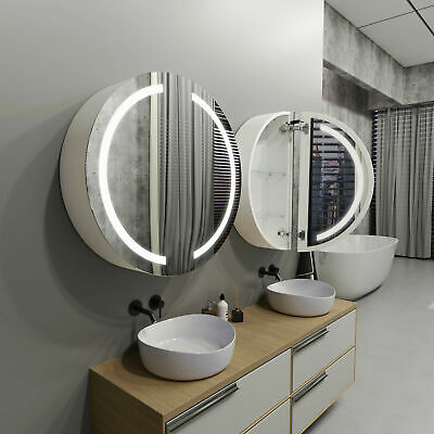 £640 • Buy Round LED Bathroom Cabinet With Mirrors DIANA   80cm