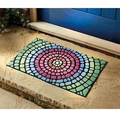 £15.99 • Buy Tough Rainbow Mosaic Pattern Doormat Recycled Rubber L75 X W45cm