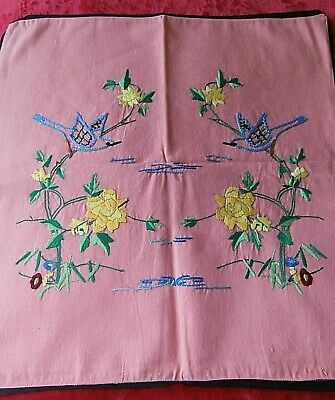 £8 • Buy Vintage Salmon Pink Cushion Cover ~ Hand Worked Embroidery Oriental Design