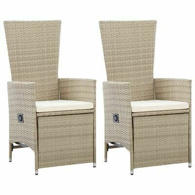 AU238.95 • Buy Reclining Patio Chairs 2 Pcs Beige PE Rattan Dining Chair Set Outdoor Furniture