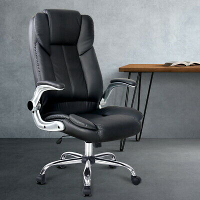 AU239.95 • Buy PU Leather Office Chair Swivel Seat Retractable Padded Armrests Chrome Base