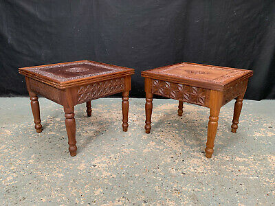 £150 • Buy EB1910 Pair Of Carved Tanzanian African Rosewood Side Tables Hardwood Bedsides